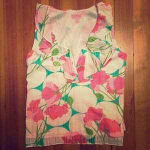 New Lilly Pulitzer Floral Ruffle Sleeveless Blouse